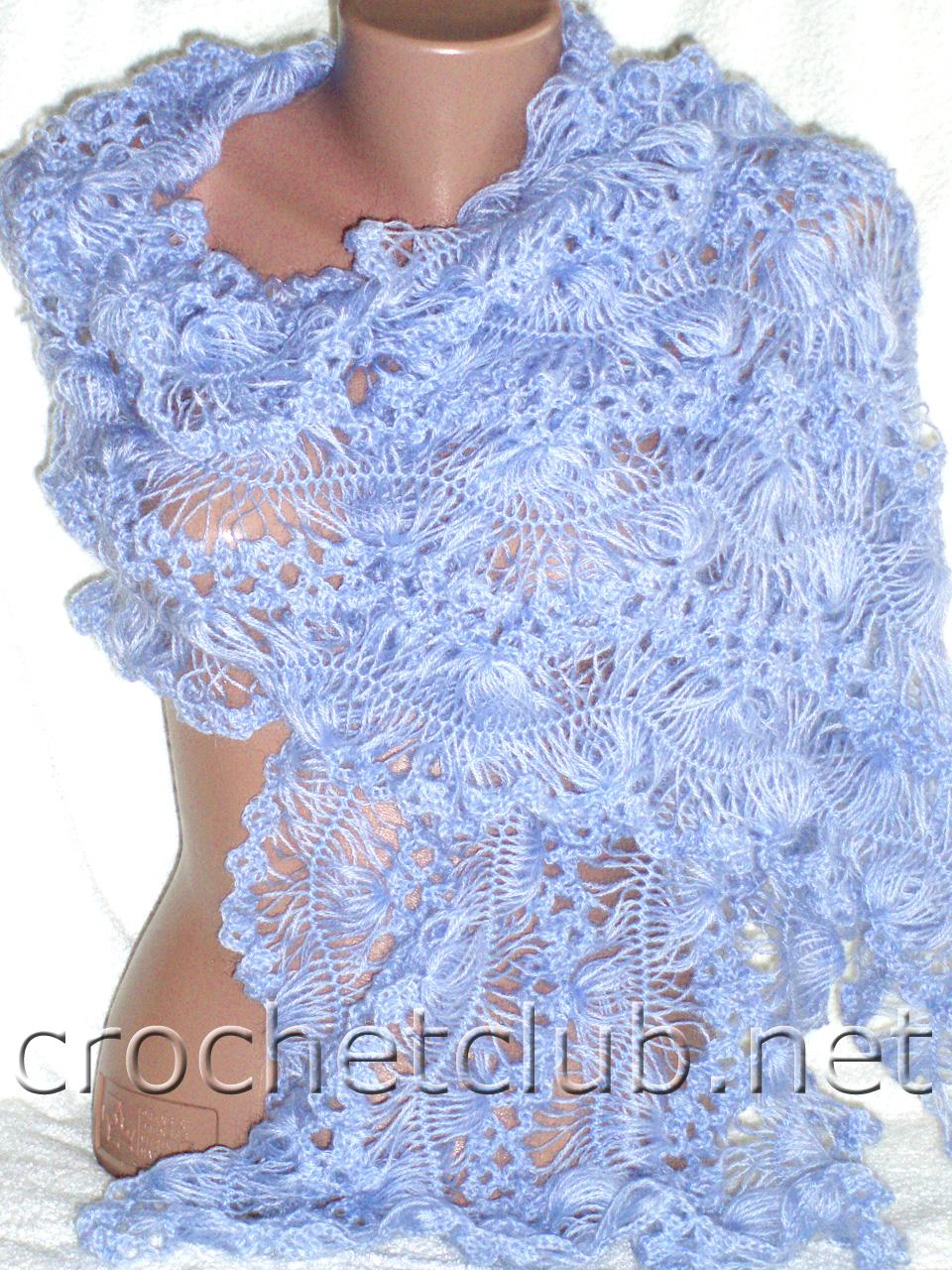 схема ажурной вязки для вязания палантина спицами