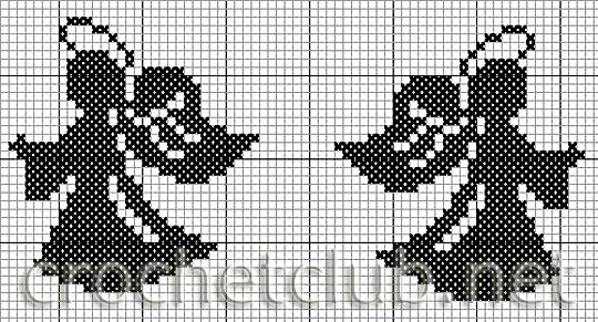 Схема вышивки крестом ангелов монохром