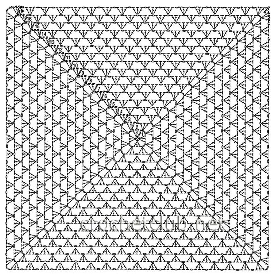 Фото и схема детских пледов вязаных крючком