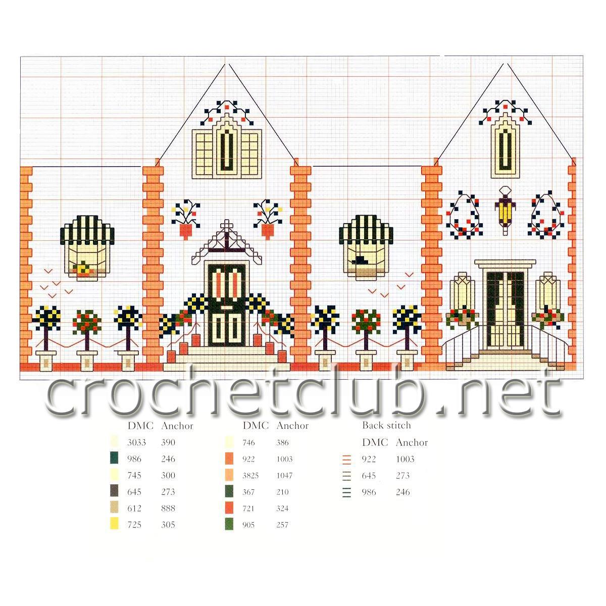 Объемные домики схема вышивки