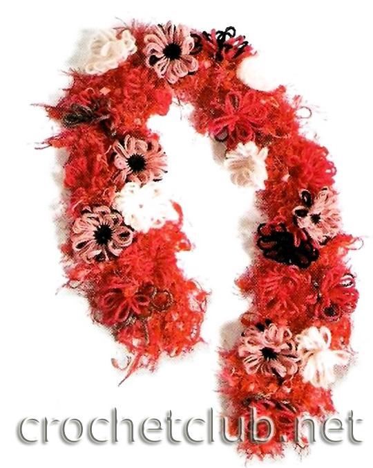 вяжем себе цветочный шарф.