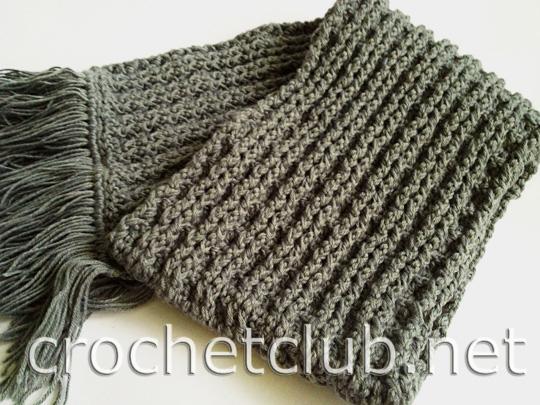 связать мужской шарф крючком .