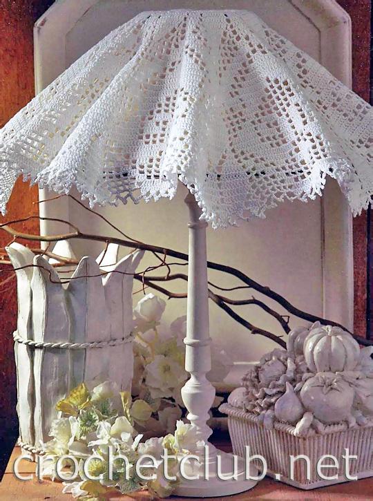 Схема вязаного абажура (при нажатии...  Для вязания подойдет любая тонкая хлопковая пряжа и соответствующий ей по...