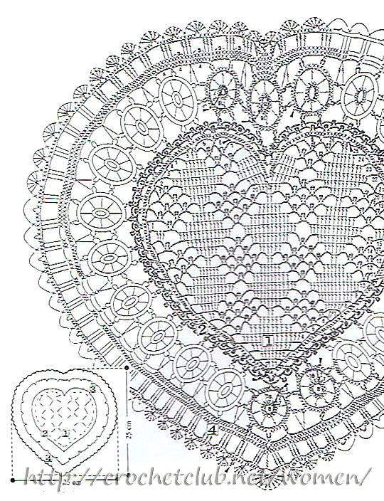 вязаная салфетка сердце 2