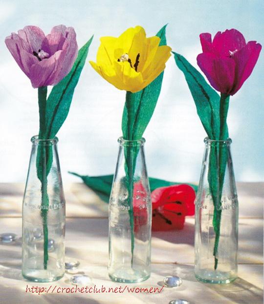 Тюльпаны из бумаги своими руками из гофрированной