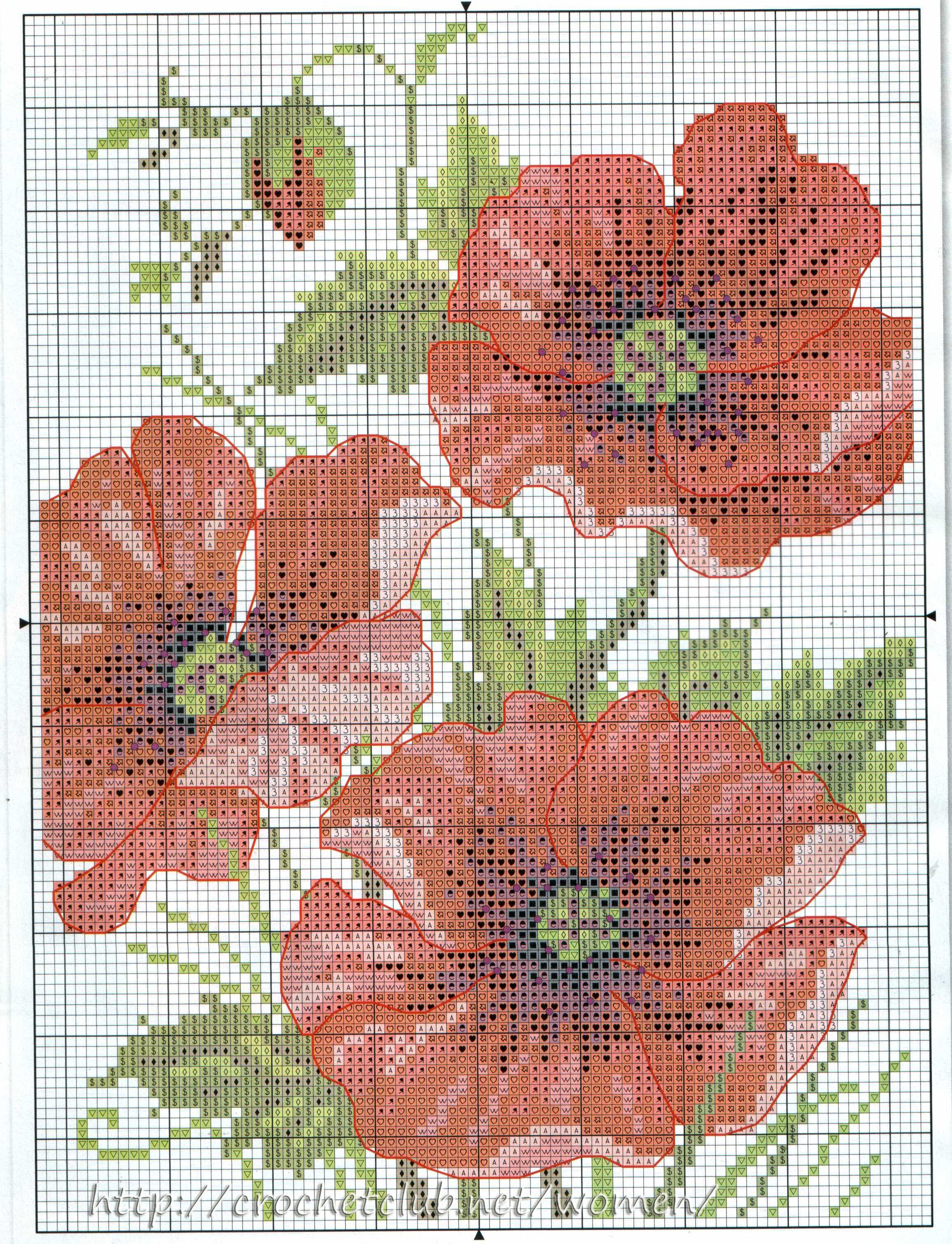 Вышивка крестом цветы маки схемы