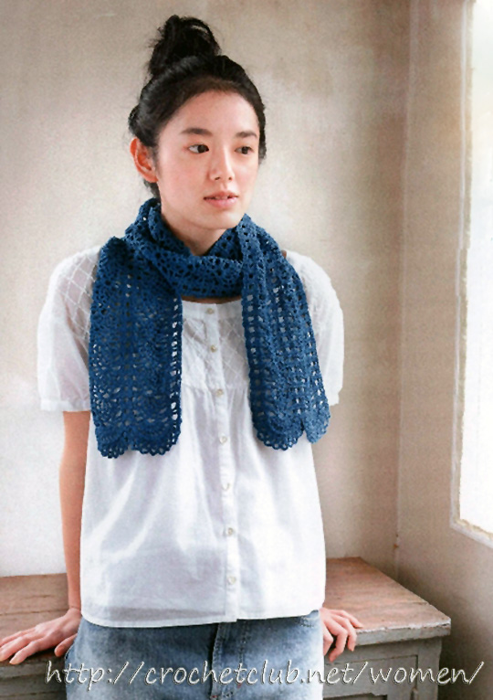синий шарф крючком 1